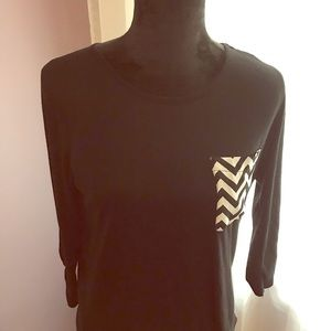Cato S Girls Black LS Top W/ Opening At Back